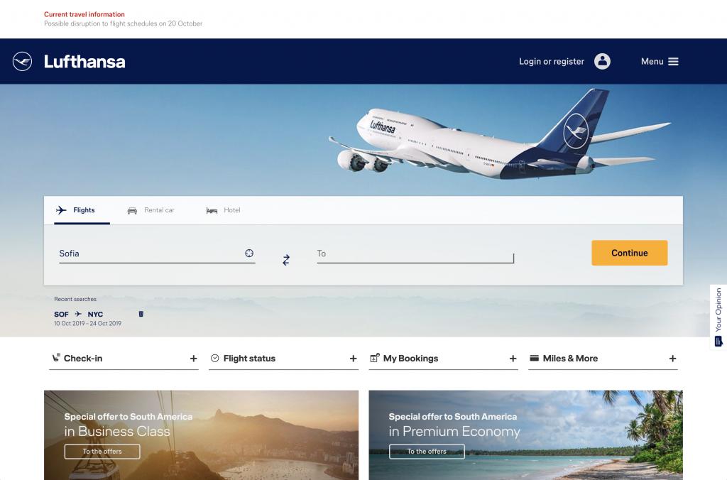 Lufthansa - landing page