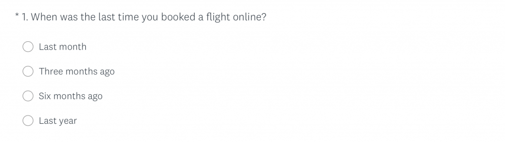 First question in the Airline booking survey